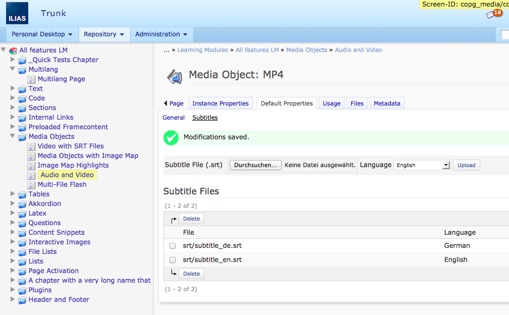 ILIAS E-Learning - Feature Wiki: Subtitles for MP4 Videos